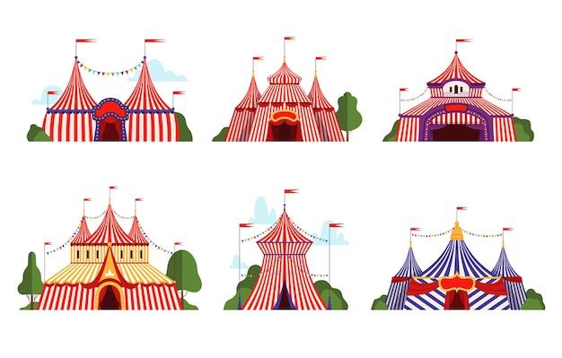 Circustent. carnaval circus luifel streep tent verschillende stijlen happy party symbolen vector cartoon collectie. illustratie circus carnaval tent met vlag, prestatiecirque