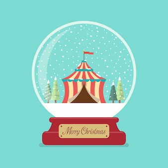 Circustent in glazen kerstbal.