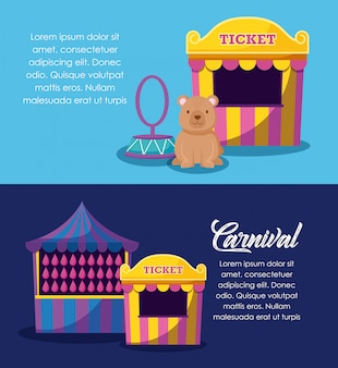 Circustent verkoop ticket met set pictogrammen
