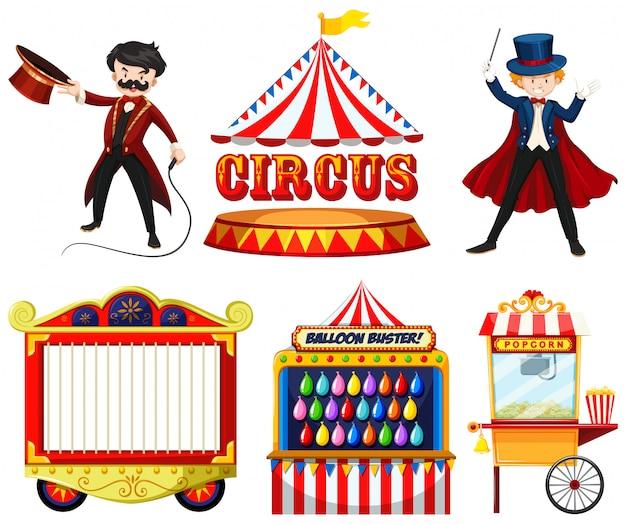 Circusthema-objecten met goochelaar, tent, kooi, spelletjes en eetkraam