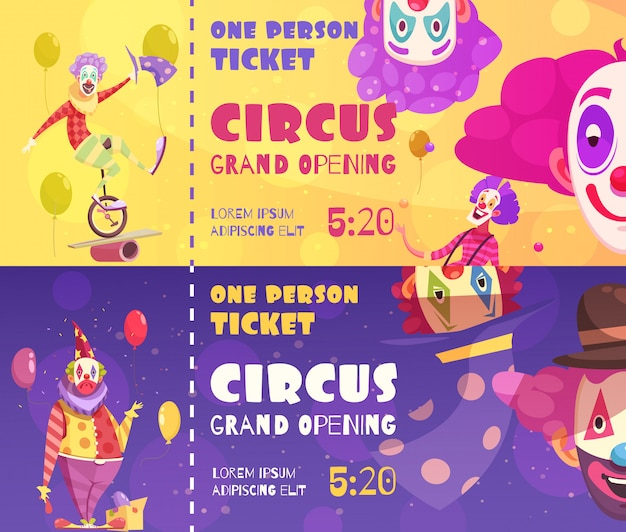 Circustickets clowns bannerft