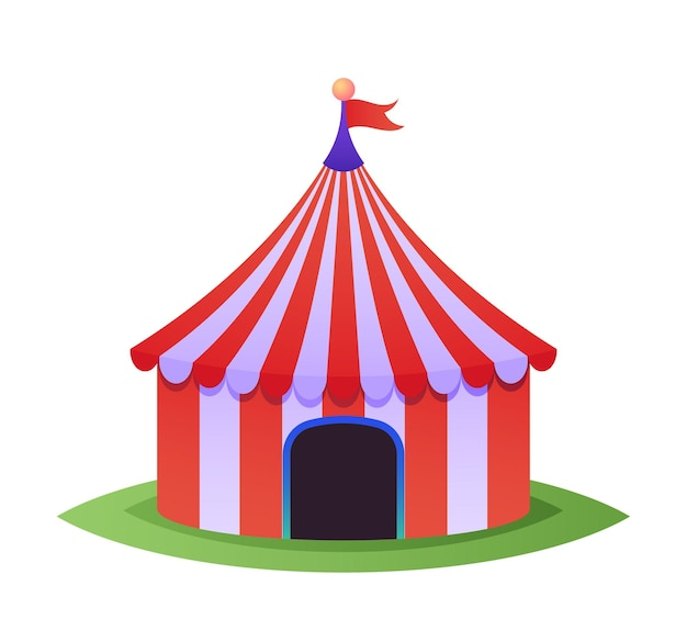 Circustoptent voor carnaval met rode strepen, vintage tentkoepel voor optreden en show