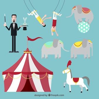 Circusvoorstelling iconen