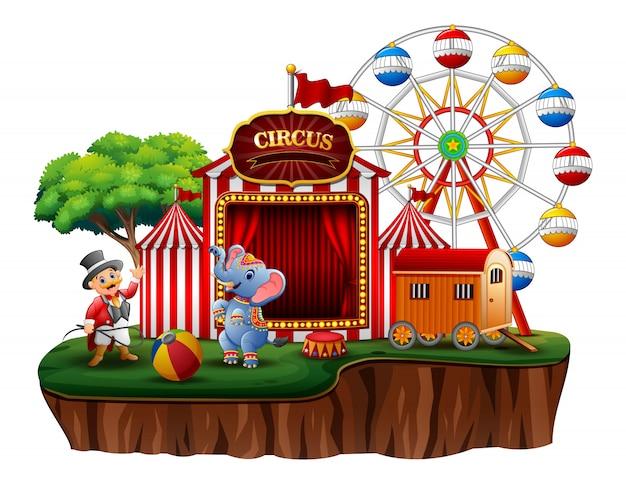 Circusvoorstelling met trainer en olifant op eiland
