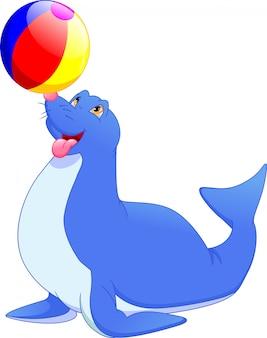 Circuszegel die een bal speelt