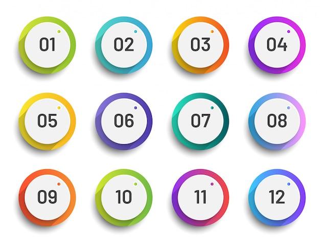 Cirkel 3d pictogrammenset met nummer opsommingsteken van 1 tot 12. trendy verloopkleuren