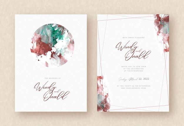 Cirkel abstracte gemengde aquarel achtergrond op bruiloft kaart