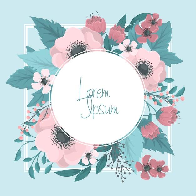 Cirkel bloemen grens - roze bloem krans