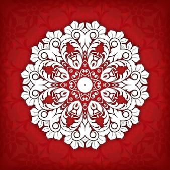 Cirkel bloemen siergrens. kantpatroon ontwerp. wit ornament op blauwe achtergrond.