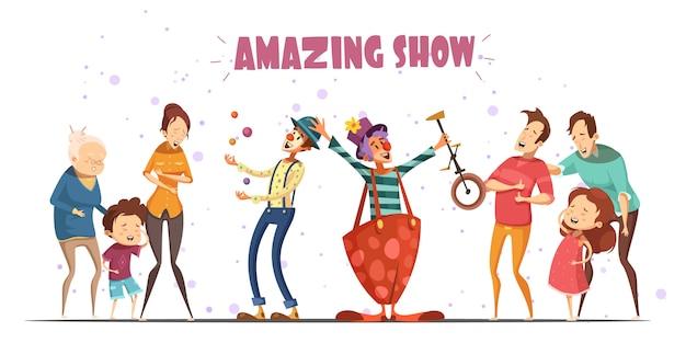Cirkel clowns geweldige openbare showprestaties voor hilarische lachende mensen met kinderen en grandparen