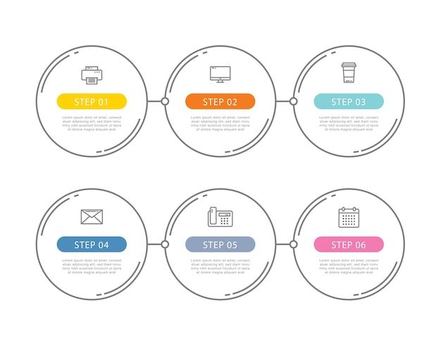 Cirkel data stap infographics sjabloon met dunne lijn.