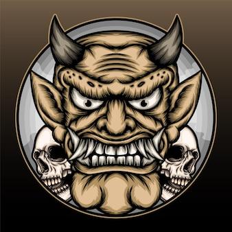 Cirkel demon met schedel illustratie.