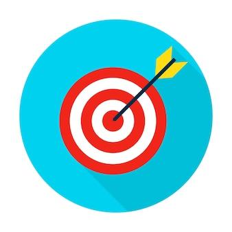 Cirkel doelpictogram. vector illustratie vlakke stijl item met lange schaduw.
