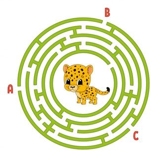 Cirkel doolhof. spel voor kinderen. puzzel voor kinderen.