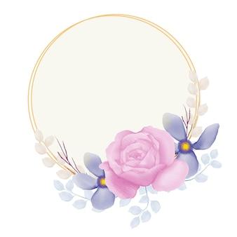 Cirkel door blauwe bloem en roze roos bloemenframe met waterverf