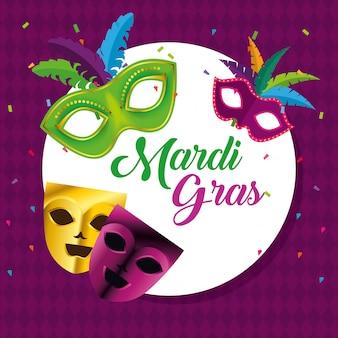 Cirkel embleem met maskers voor mardi gras viering
