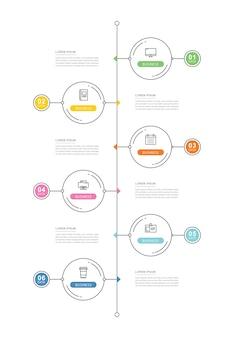Cirkel gegevens tijdlijn infographics sjabloon met dunne lijn.