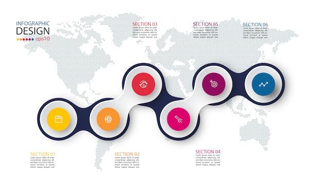 Cirkel gekoppeld aan zakelijke pictogram infographics op wereld kaart achtergrond.