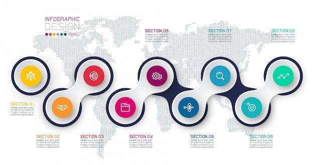 Cirkel gekoppeld aan zakelijke pictogram infographics