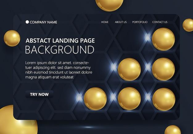 Cirkel gouden 3d-vorm landing pagina achtergrond