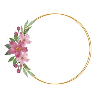 Cirkel gouden frame met roze bloemenboeket voor huwelijksuitnodiging