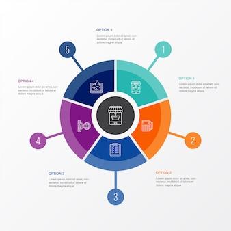 Cirkel grafiek e-commerce zakelijke infographic sjabloon met 5 opties