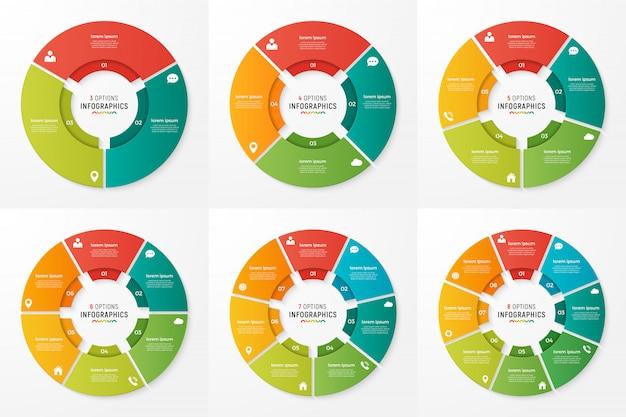 Cirkel grafiek infographic sjablonen voor presentaties