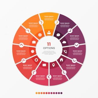 Cirkel grafiek infographic sjabloon met 1 opties