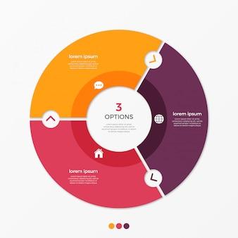 Cirkel grafiek infographic sjabloon met opties.