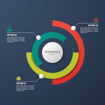 Cirkel grafiek infographic sjabloon voor data visualisatie.