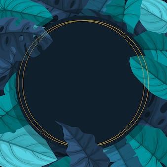 Cirkel groene tropische plant zomer blad grens frame achtergrond