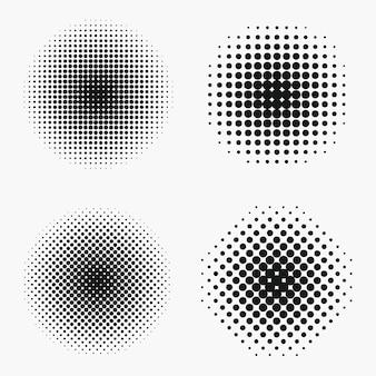 Cirkel halftoon effecten ingesteld. monochroom stippen halftoonelement. vector illustratie.
