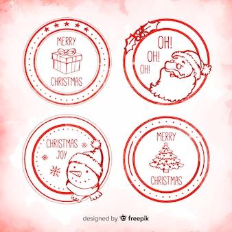 Cirkel hand getrokken kerst badges collectie