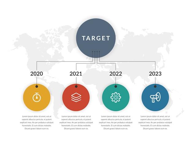 Cirkel infographic element met pictogram voor bedrijfsstrategie