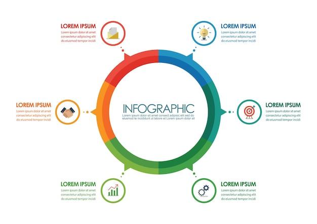 Cirkel infographic grafieksjabloon. vector illustratie