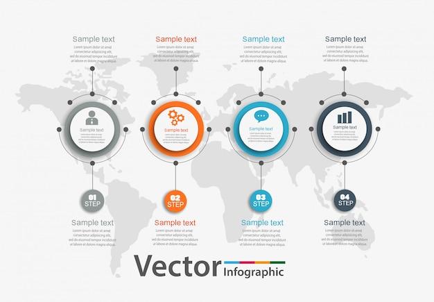 Cirkel infographic met 4 stappen
