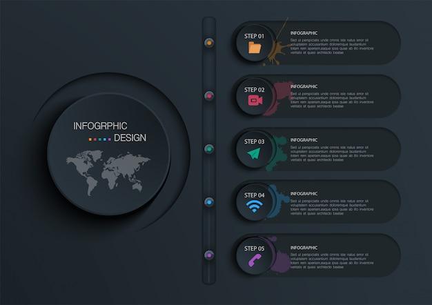 Cirkel infographic met 5 opties