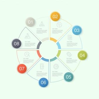 Cirkel infographic sjabloon met pictogrammen en 10 opties of stappen.