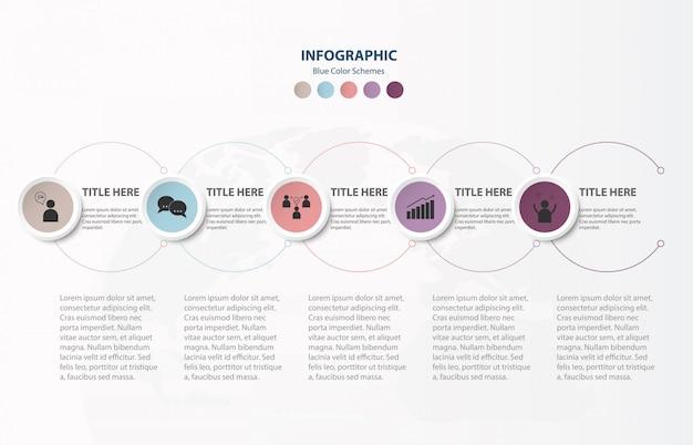 Cirkel infographics 5 elementen sjabloon en pictogrammen.