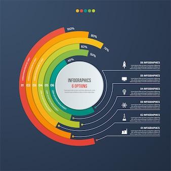 Cirkel informatieve infographic met 6 opties