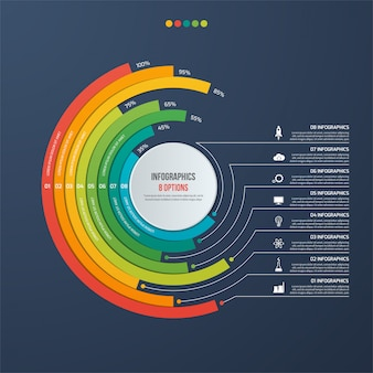 Cirkel informatieve infographic met 8 opties op donkere achtergrond