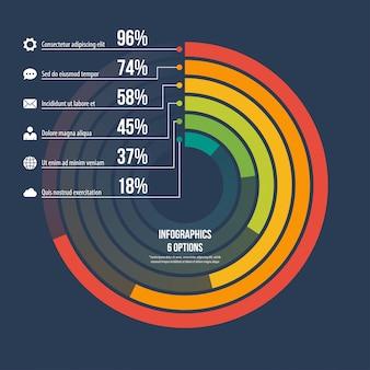 Cirkel informatieve infographic sjabloon 6 opties