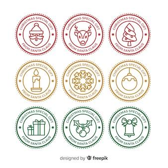 Cirkel kerst sticker collectie