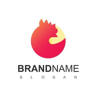 Cirkel kip logo sjabloon, pluimvee symbool