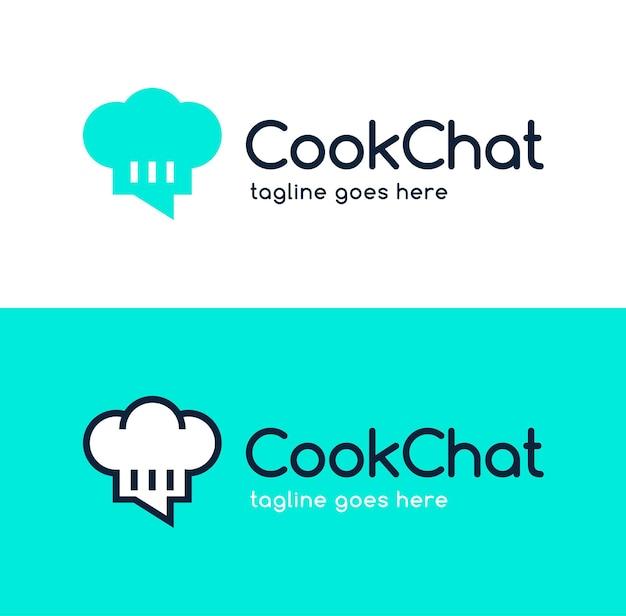 Cirkel kleur kok chef-kok chat logo ontwerp.