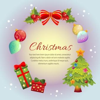 Cirkel kleurrijke kerst frame kaart