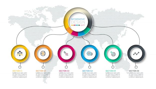 Cirkel label infographic met stap voor stap.