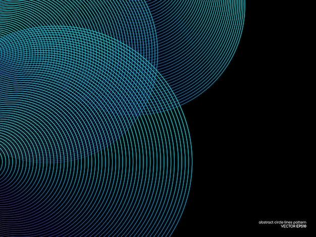 Cirkel lijnen patroon overlay in blauw groene kleur op zwarte achtergrond