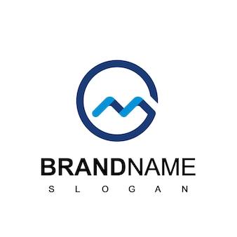 Cirkel m logo bedrijf eerste pictogram