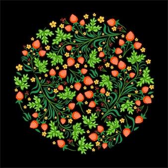 Cirkel met aardbeien in de russische stijl op een zwarte achtergrond.